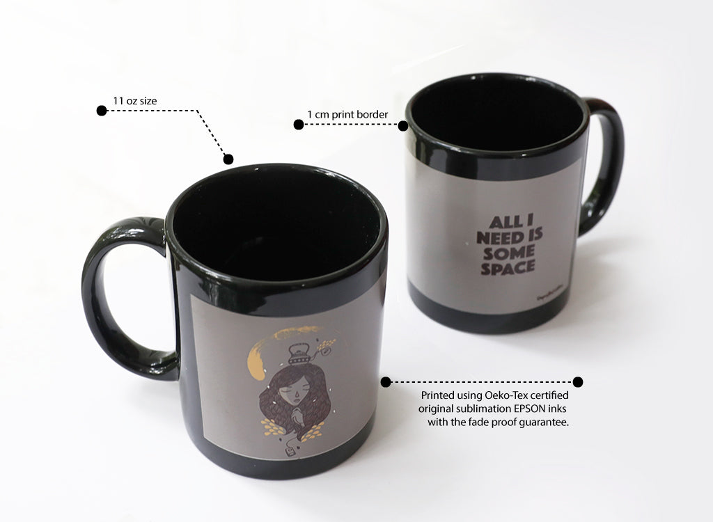 Black coffee mug dimension