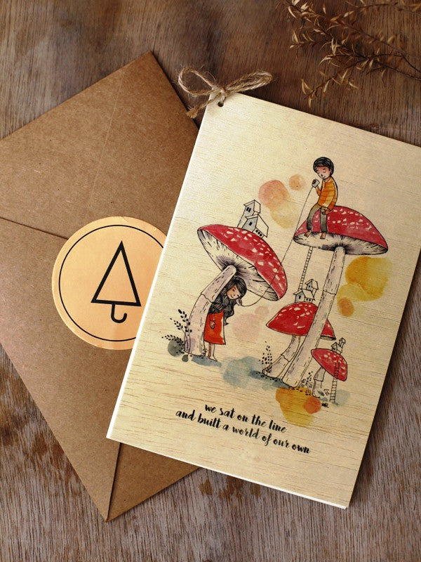 Wishing Card - Print on Wood - Our world - Unposted Letters Store - 1