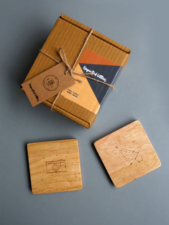 Wooden Coaster Set - Constellations