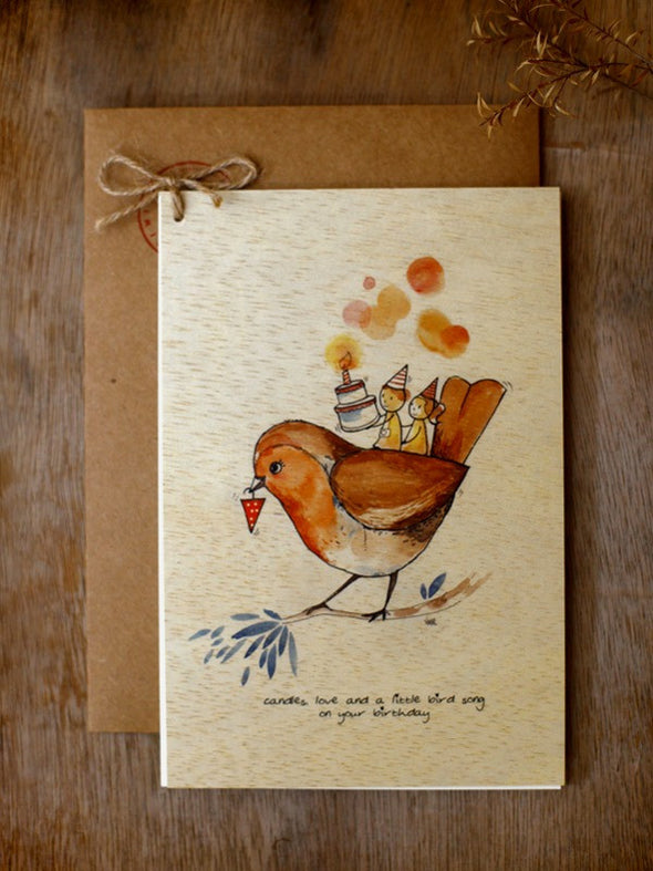 Wishing Card - Print on Wood - Candles love (B'day) - Unposted Letters Store - 3