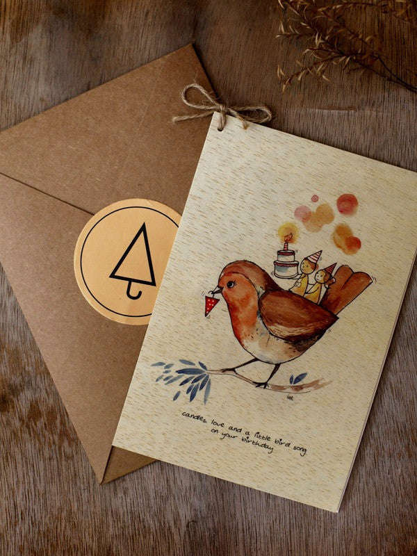 Wishing Card - Print on Wood - Candles love (B'day) - Unposted Letters Store - 1