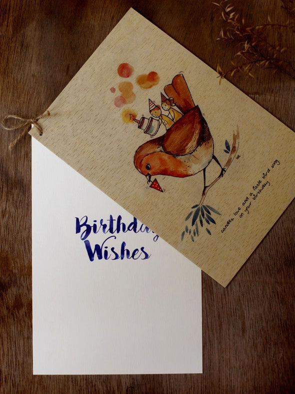 Wishing Card - Print on Wood - Candles love (B'day) - Unposted Letters Store - 4