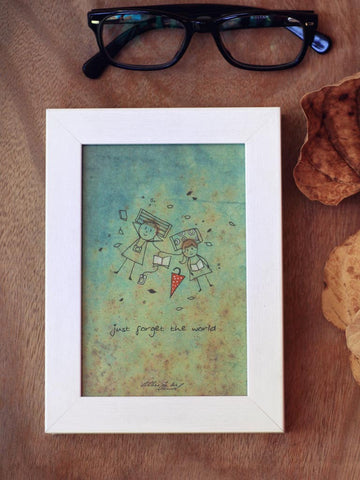 Framed Mini Art - Just forget the world - Unposted Letters Store - 1