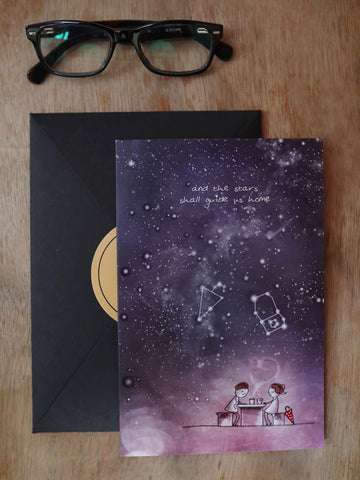Wishing Card - UV Embossed Cards- And the stars - Unposted Letters Store - 1