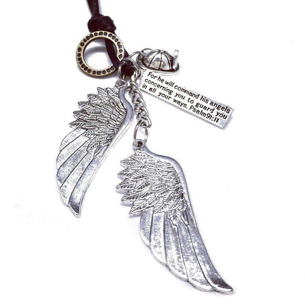 Firefighter Guardian Angel Wings Necklace with Psalm 91:11