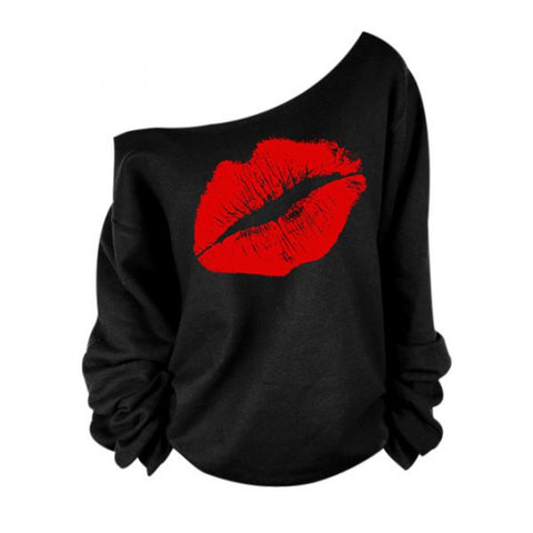 Stylish Oblique Shoulder Long Sleeve Lip Print Women's T-Shirt