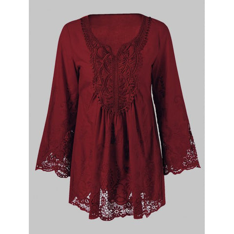 Lace Splicing Long Sleeve Women's Blouse