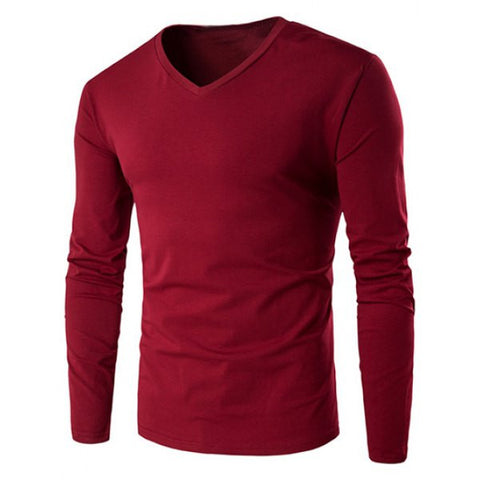 V-Neck Long Sleeve Men's T-Shirt