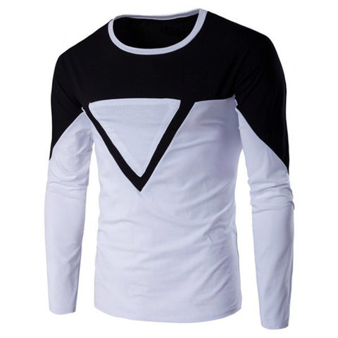 Two Tone Long Sleeve Men's T-Shirt