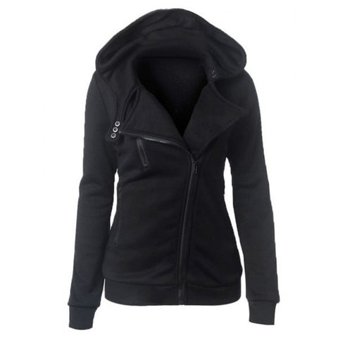 Casual Turn-down Collar Zipper Button Design Women's Jacket