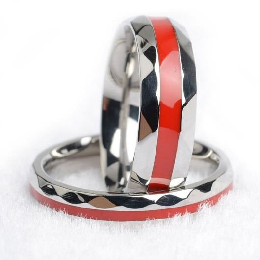 Thin Red Line Firefighter Couple's Rings