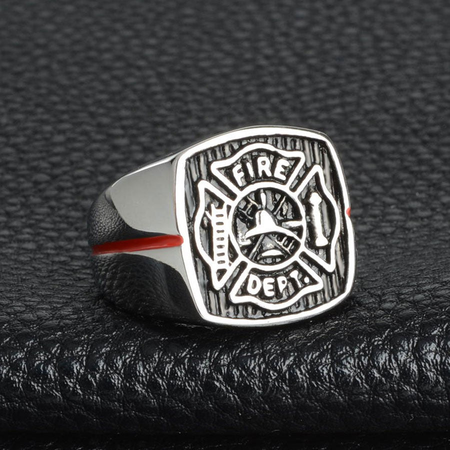 Thin Red Line of Courage Firefighter Ring