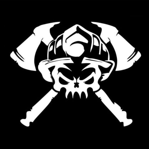 Firefighter Skull Window Decal Sticker