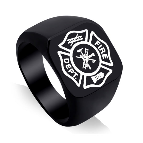 Black Firefighter Ring