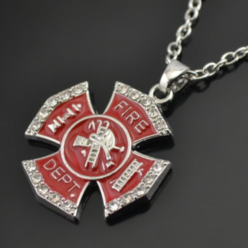 Red & White Crystal Stone Maltese Cross Necklace
