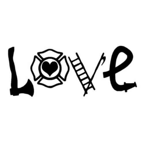 Love Firefighter Window Decal Sticker