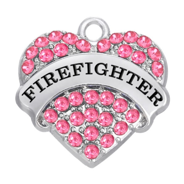 Firefighter Hero Crystal Heart Pendant Charm