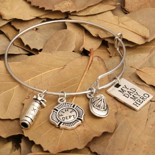 My Dad My Hero Firefighter Charm Bracelet