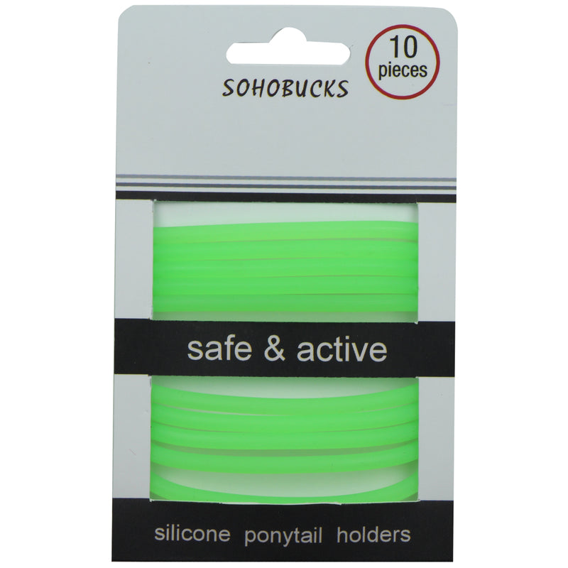3mm round silicone rubber glow in dark silicone elastic hair band 10 pcs silicone ponytail hair holder set1084
