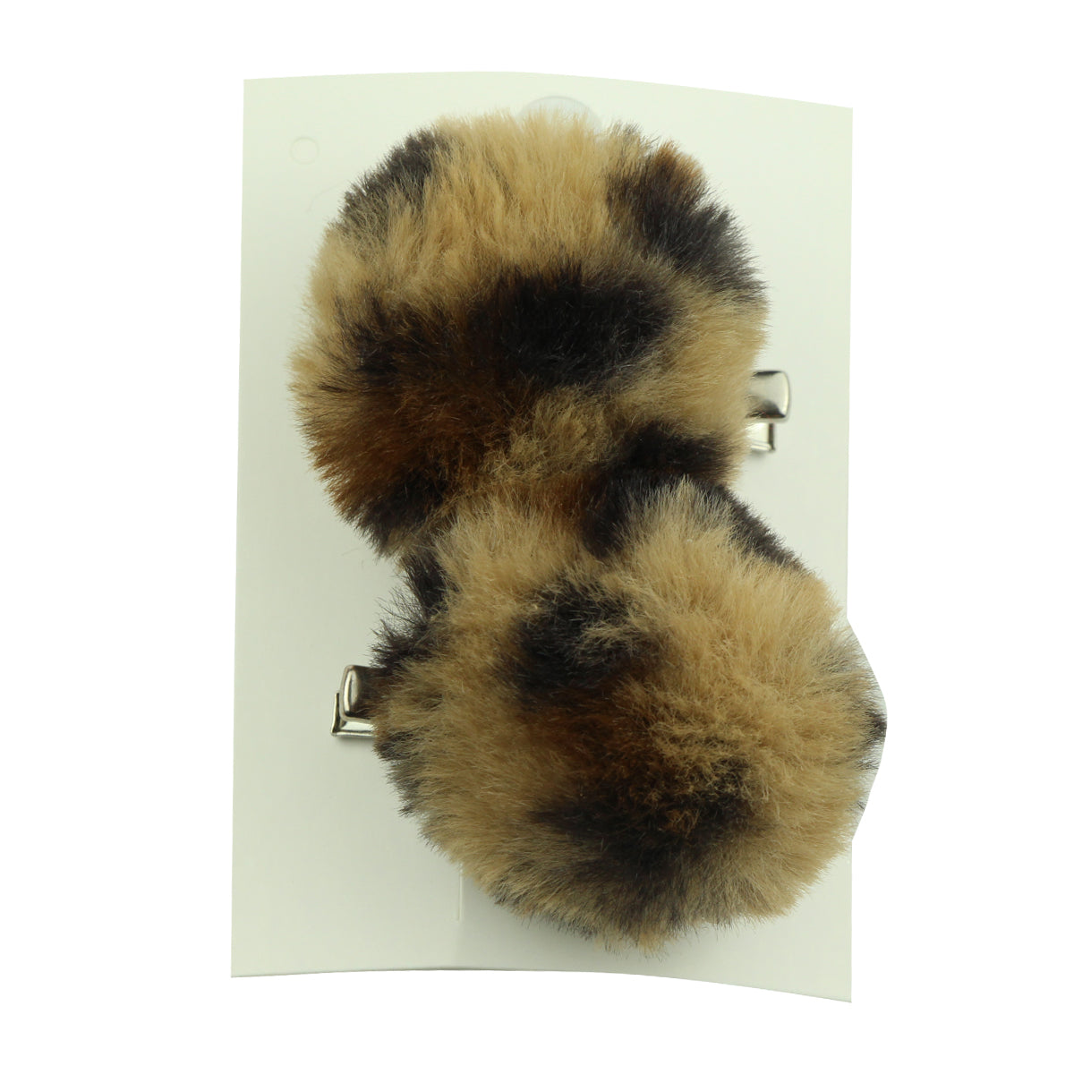 artificial faux leopard rabbit fur animal hair ornaments hair clip fur ball pom pom headwear set - SOHOBUCKS CO.,LIMITED
