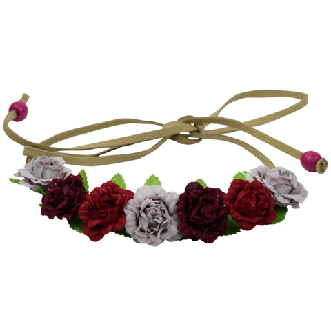 Assorted color rose buds flower halo crown suede leather crown headband head wreath 0614