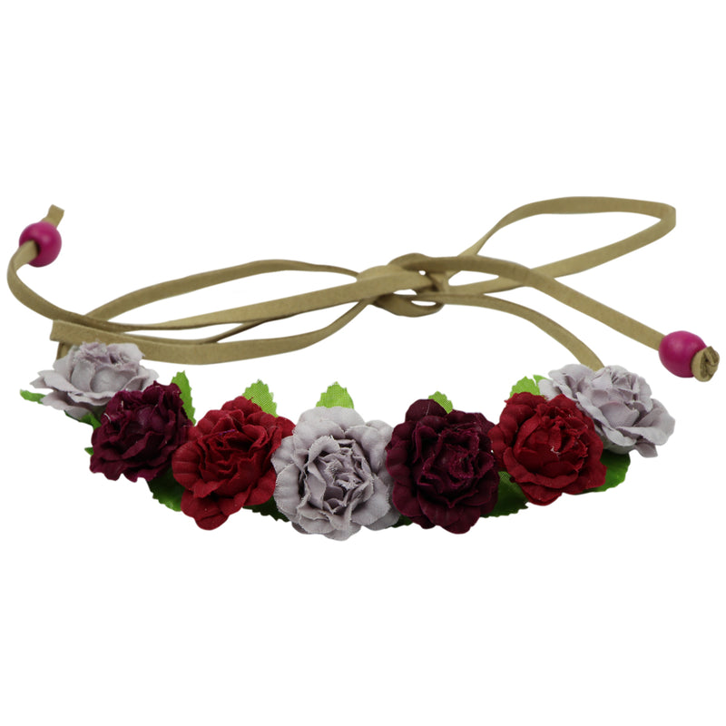 Assorted color rose buds flower halo crown suede leather crown headband head wreath 0614 - SOHOBUCKS CO.,LIMITED