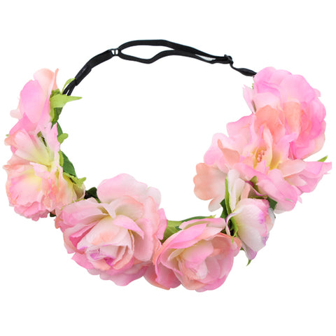 Big pink rose flower girl  head wreath women adjustable headbands wholesale factory price1439