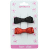 Black and Hot Pink Glitter Suede Faux Leather Bow Hair Clip Barrettes 1291
