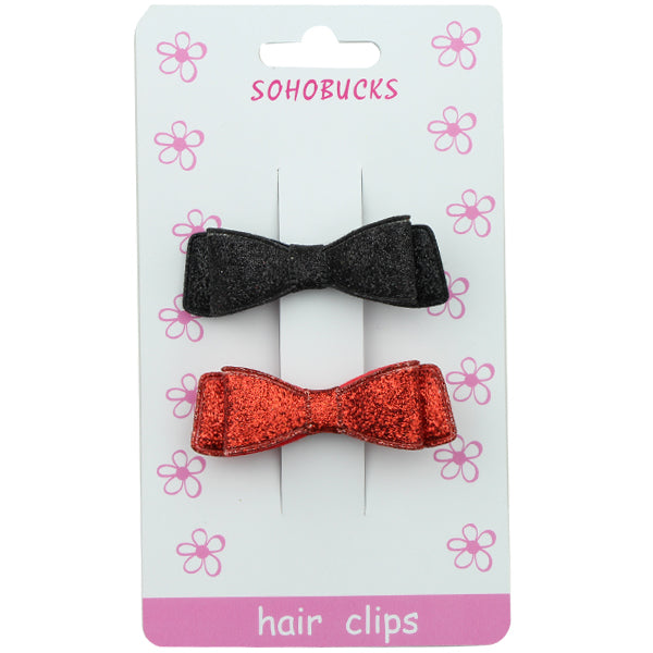 Black and Hot Pink Glitter Suede Faux Leather Bow Hair Clip Barrettes 1291 - SOHOBUCKS CO.,LIMITED