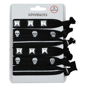 Black dye tie hair accessories with silver studs and silver skull 1120 - SOHOBUCKS CO.,LIMITED
