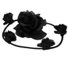 Black rose flower swirl bun headabnds0545