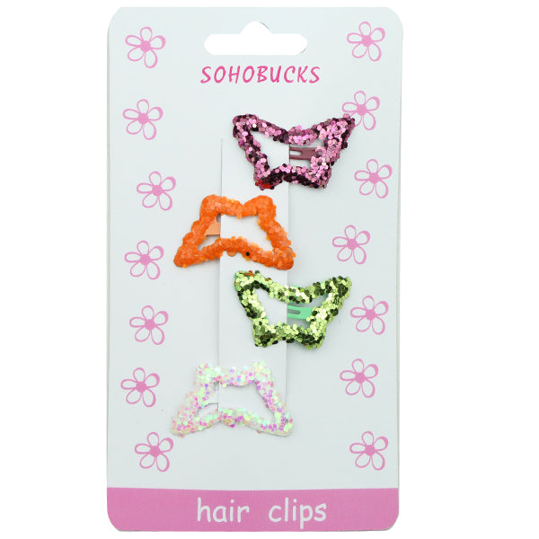 Bling Snap Hair Clip Butterfly Hair Clip Barrette with Glitter Sequin Assorted Color 1280 - SOHOBUCKS CO.,LIMITED
