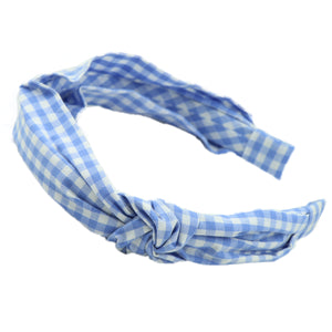 Blue Gingham custom print fabric covered twist bow knitted Headband cotton Alice headband 0731