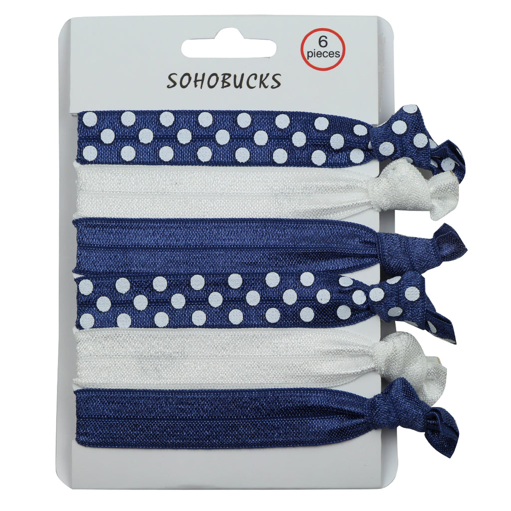 Blue crease free die tie hair tie polka dots custom printing fold over elastic wristband hairband set