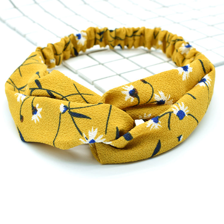 Boho Headbands Wide Knot Headband Headpiecce Bohemia Floral Style Head Wrap Hair Band Vintage Cotton Elastic Fabric Hairbands Fashion Hair Accessories for Women and Girls 88021