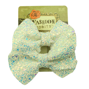Cream sparkle bow hair clip barrettes glitter fabric bow hair accessories no sewing2418 - SOHOBUCKS CO.,LIMITED