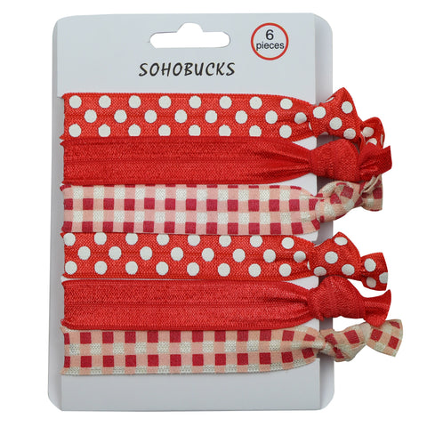 Creaseless hair tie bracelet polka dots silkscreen custom printing hair ties elastic band1177 - SOHOBUCKS CO.,LIMITED