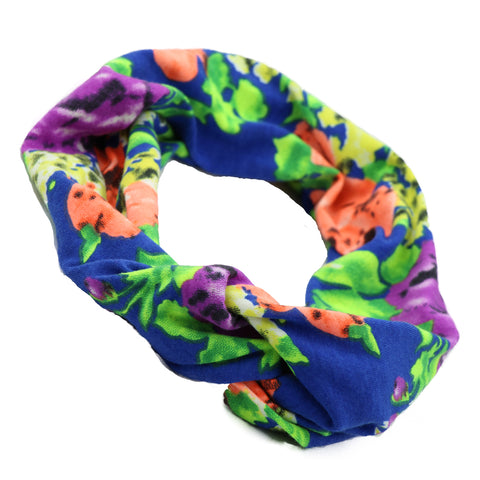 Dye Sublimation Stretchy custom print bandana Fabric cross twist floral Headband  women head wrap wholesale 0838