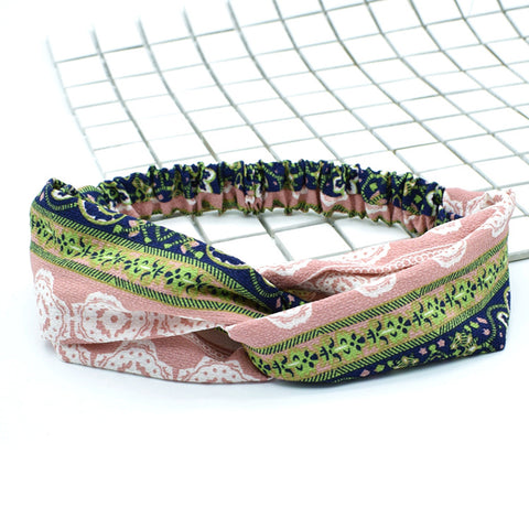 Elastic Stretchy Vintage Twisted Headbands Head Wrap Hair Bands Boho Yoga Workout Turban Criss Cross Floral Women Accessories 88044