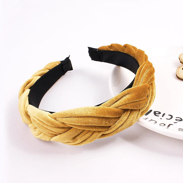 Fashion Velvet Braided Headband Trendy Women Wide Braid Hair Band Thick Velvet Head Band for Girls