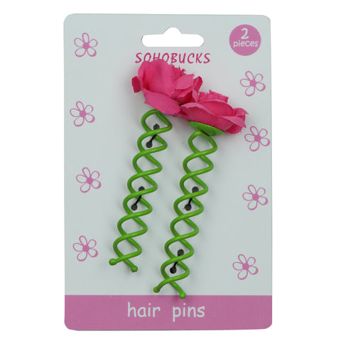 Fuchsia rose flower hair bobby pins1132 - SOHOBUCKS CO.,LIMITED