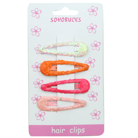 Glitter Bling neon 5cm girl Snap Hair Clips Assorted Colors shiny hair barrette clip wholesale at factory price1281