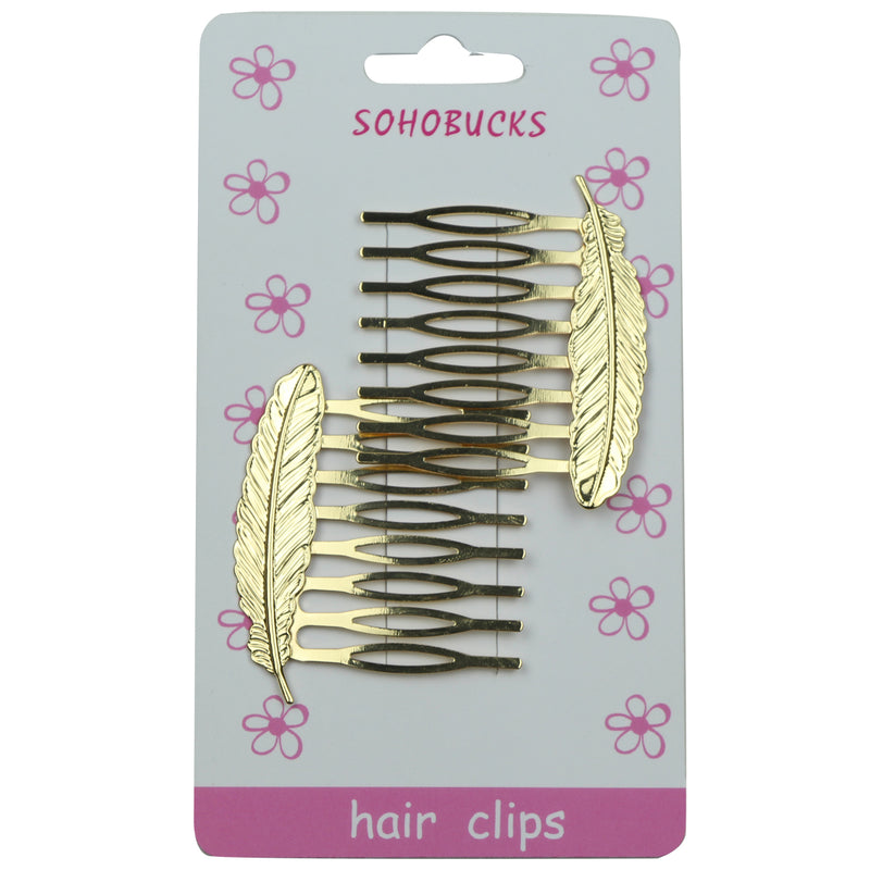 Gold Metal Hair Comb with leaf 1094