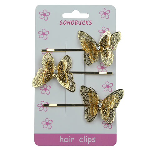 Gold butterfly hair clip with rhinestone 1029 - SOHOBUCKS CO.,LIMITED