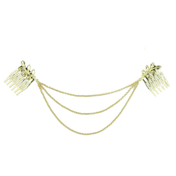 Gold metallic triple chain hair comb headwrap Metal women hairband wholesale  headband at factory price1391 - SOHOBUCKS CO.,LIMITED