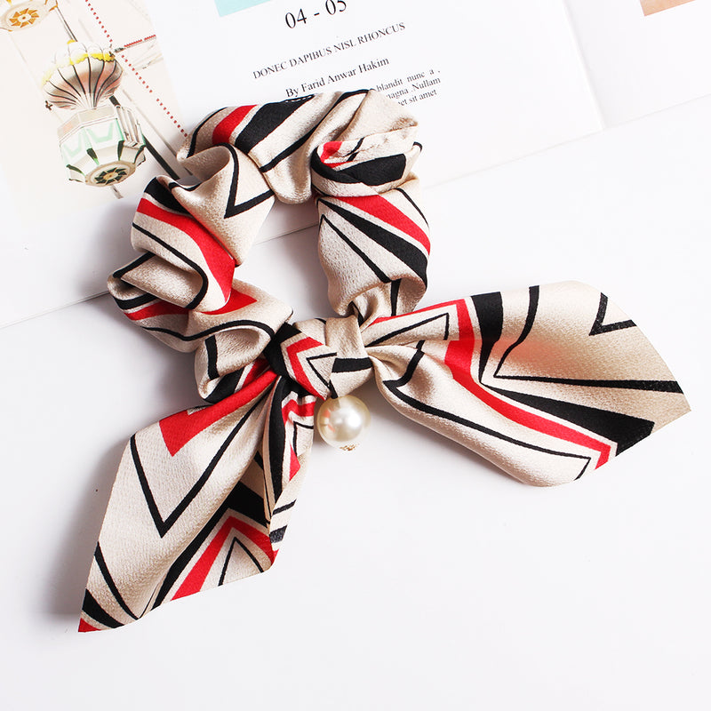 Hair Scrunchies Bowknot Velvet Silk Elastics Hair Bands Scrunchy Hair Rope Ties Hair Bow Scarf Ponytail Holder Women Girls Hairband Party Decoration Cosplay Costume Handmade Hair Accessories 90310F