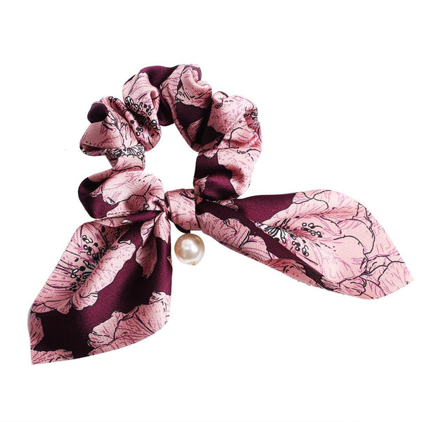 Hair Scrunchies Pearl Chiffon Bow Hair Scarf Vintage Elastic Hair Bands with Ponytail Holder Ties Accessories for Women Girl 90310B