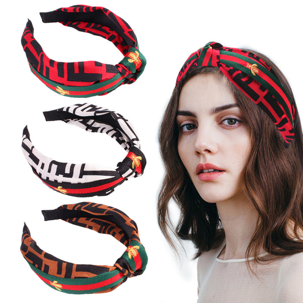 Striped Knot Headbands  Women Hair Hoops Wide Stripe Headband with Bee Animal, Cross Knot Hair Band Cloth Wrapped