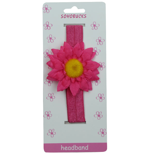 Hot Pink Sun flower Hot Pink Crease Free 2.5 cm Headband for Baby 1214