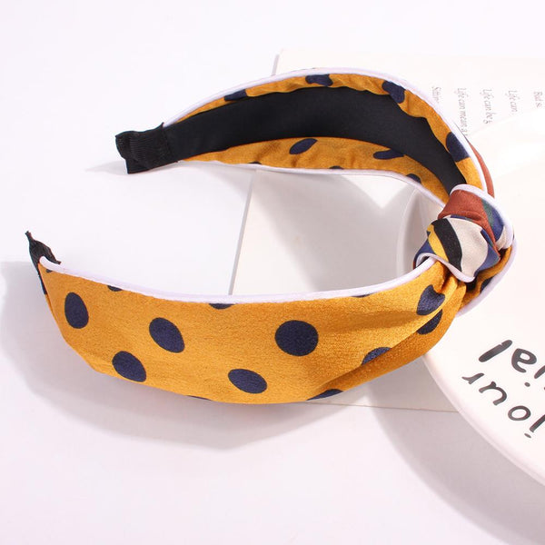 Knot Turban Polka dot Headband Elastic Hairband Hair Accessories for Girls No Slip Stay on Knotted Head band Hair Band